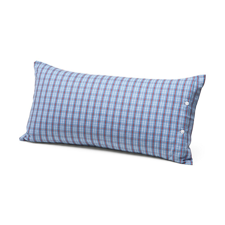 Pillow Case Made of Flannel in Hochficht Check Pattern Blue 40 × 80 cm