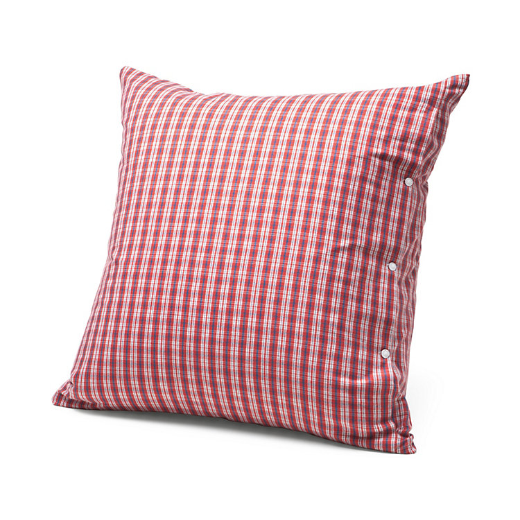 Pillow Case Made of Flannel in Hochficht Check Pattern Red 80 × 80 cm