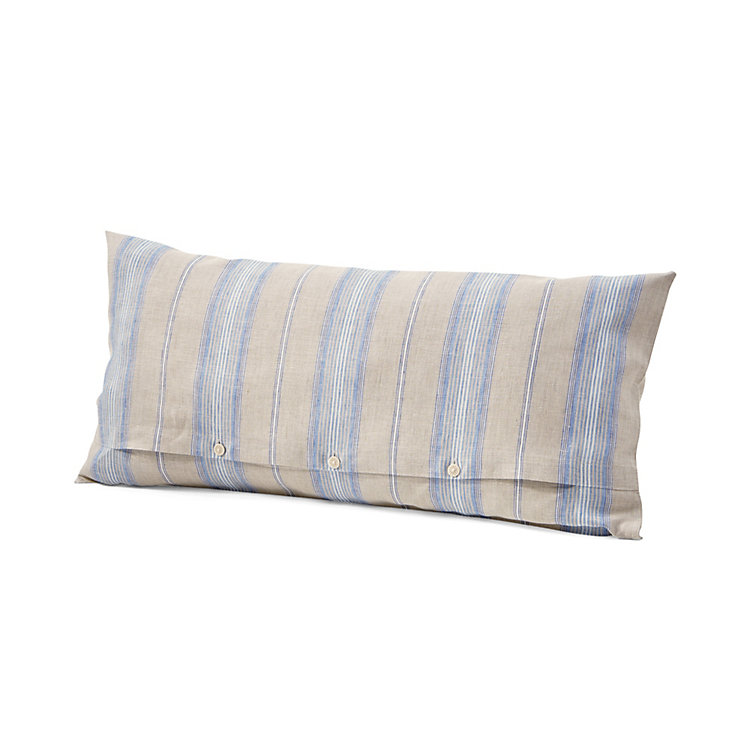 Pillow Case Made of Linen Blue Striped 40 × 78 cm