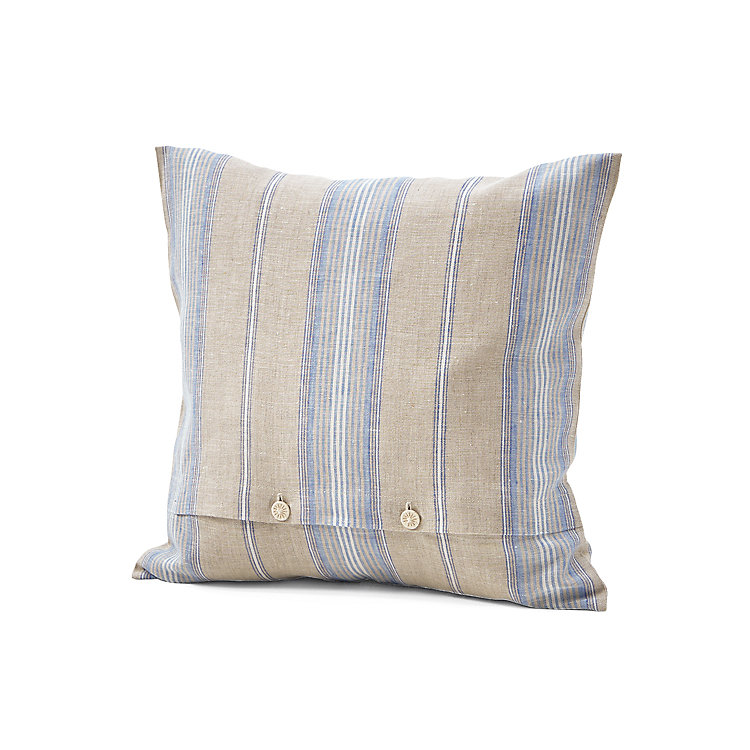 Pillow Case Made of Linen Blue Striped 40 × 40 cm