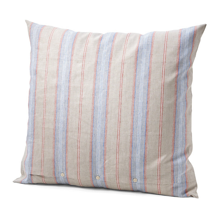 Pillow Case Made of Linen 80 x 78 cm Red and Blue Striped