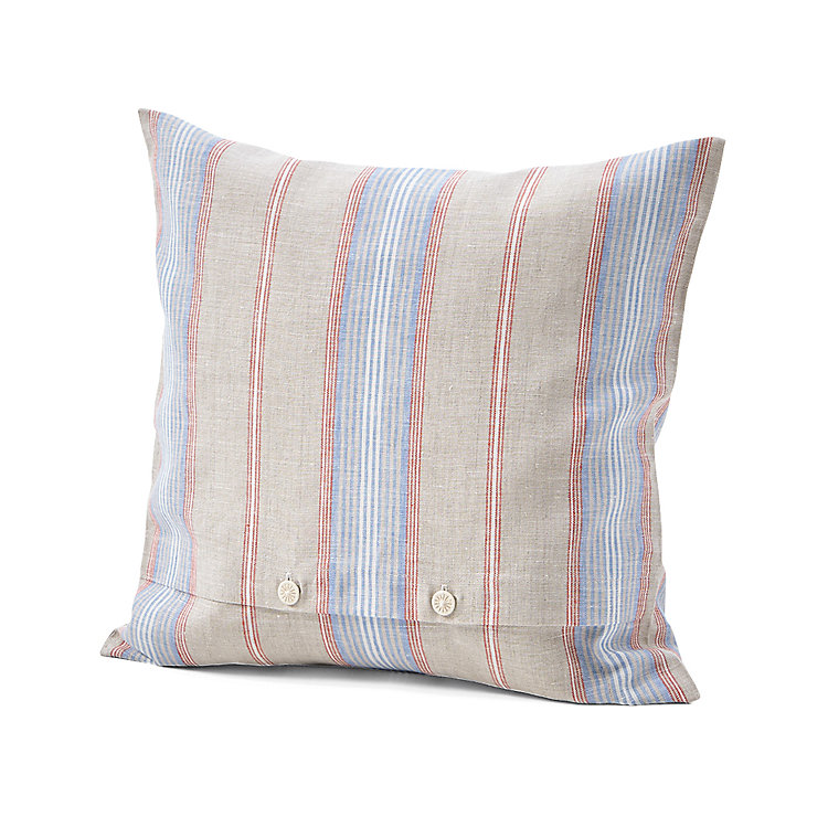 Pillow Case Made of Linen Red and Blue Striped 40 × 40 cm