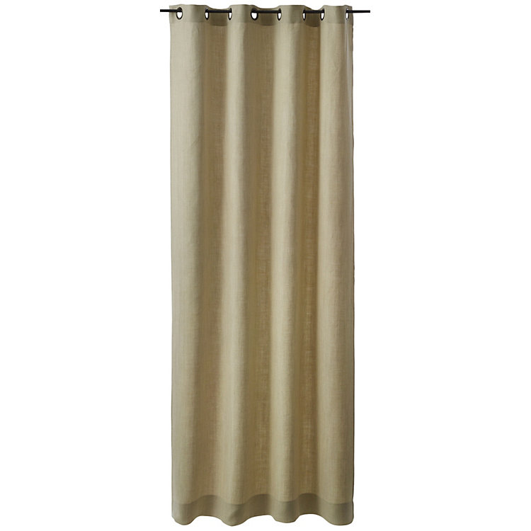 Pure Linen Curtain Height 250 cm Beige