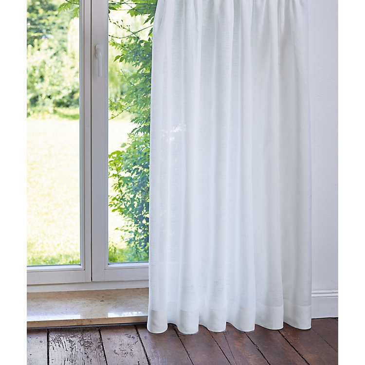 Pure Linen Voile Curtains Height 245 cm White