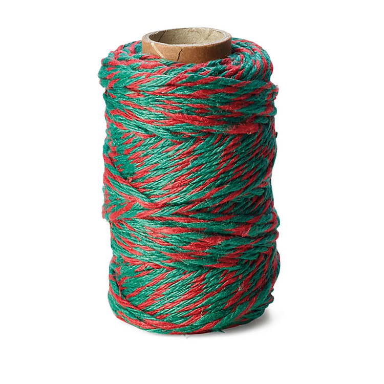 Pure Linen Yarn 6-fold, Red/Green