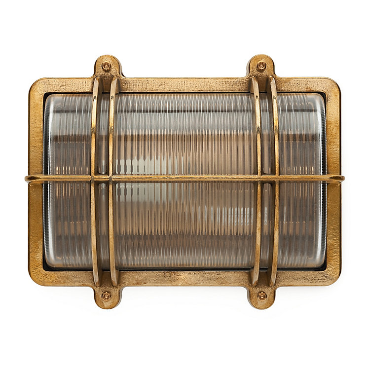 Rectangular Brass Wall and Ceiling Lamp
