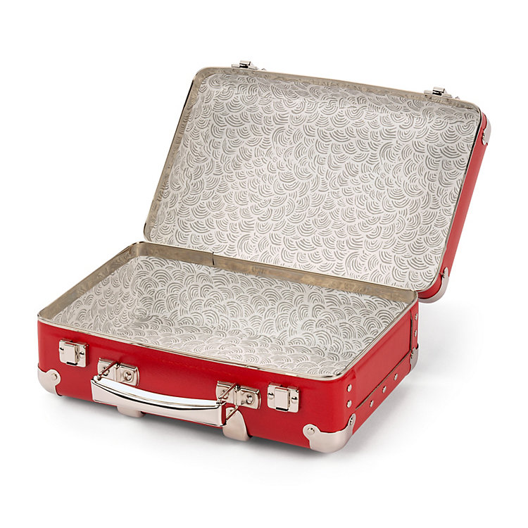 Red Cardboard Suitcase with Wooden Slats Width 30 cm