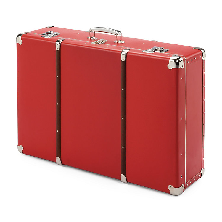 Red Cardboard Suitcase with Wooden Slats, Width 70 cm