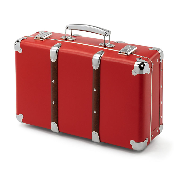 Red Cardboard Suitcase with Wooden Slats, Width 40 cm
