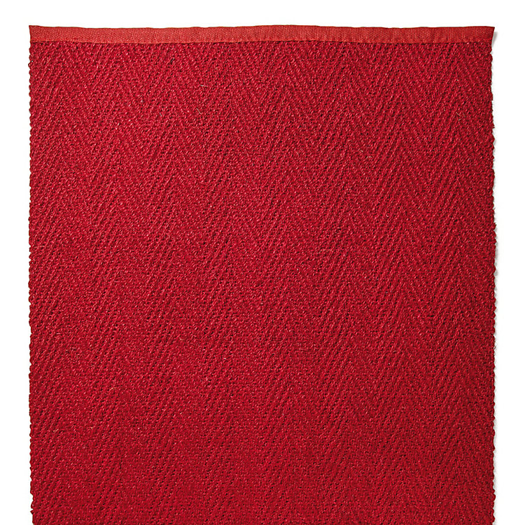 Red Herringbone Schär Coconut Fiber Carpet Red 65 cm
