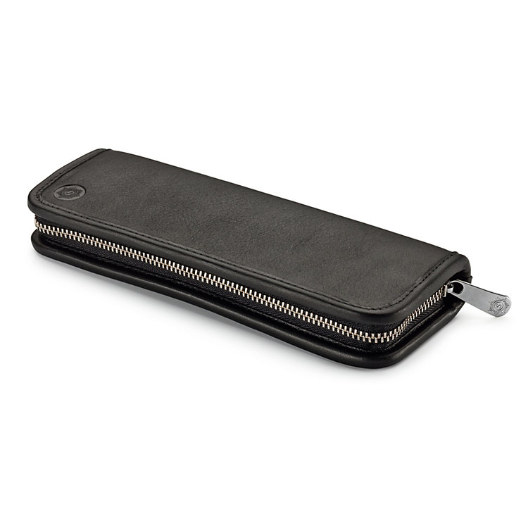 Red Leather Pen and Pencil Case, Black