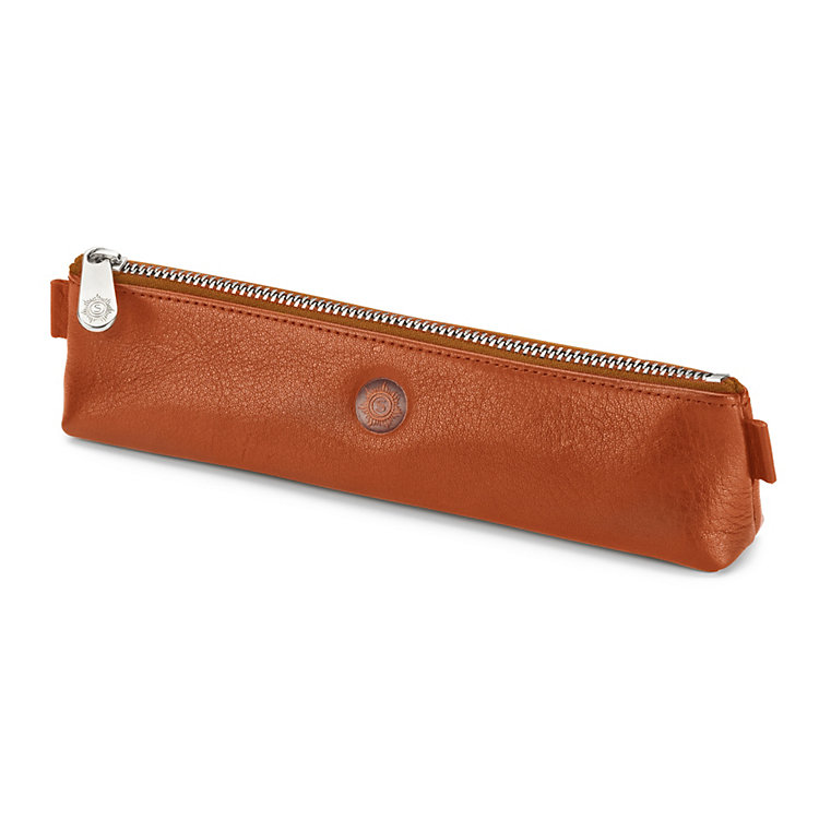 Red Tanned Leather Pencil Case Natural