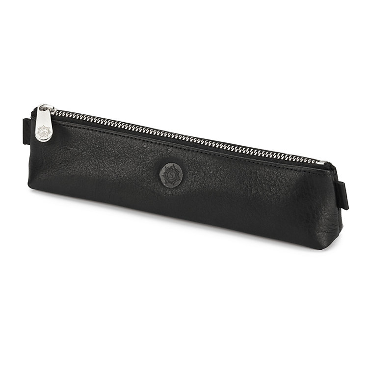 Red Tanned Leather Pencil Case Black