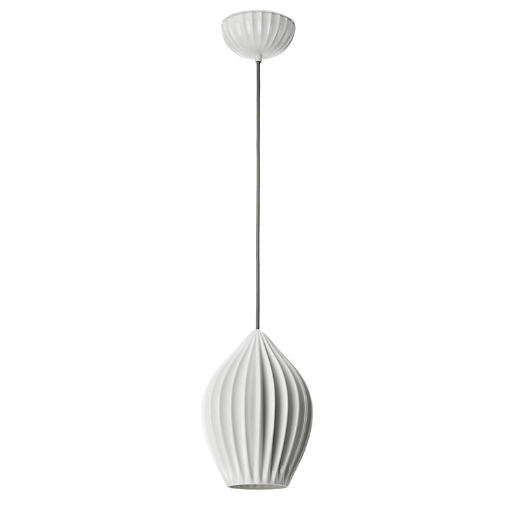 Ribbed Pendant Lamp Made of Bone China