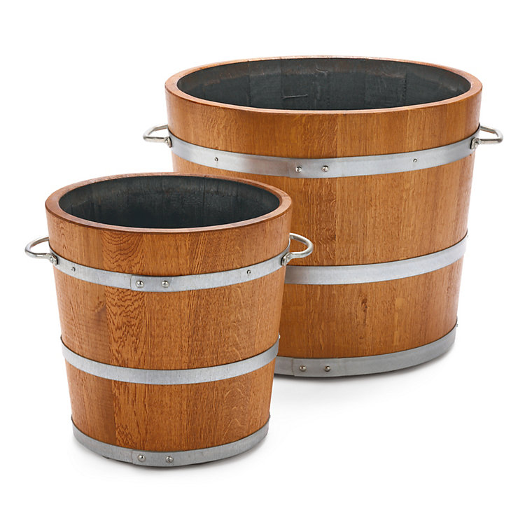 Saxonian oak wood planting bucket Ø 40 cm