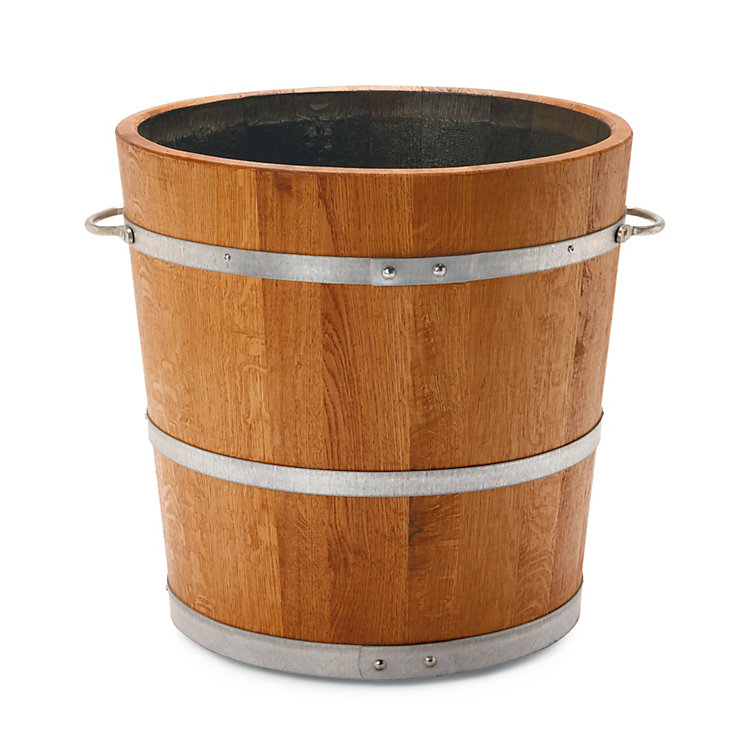 Saxonian oak wood planting bucket Ø 50 cm