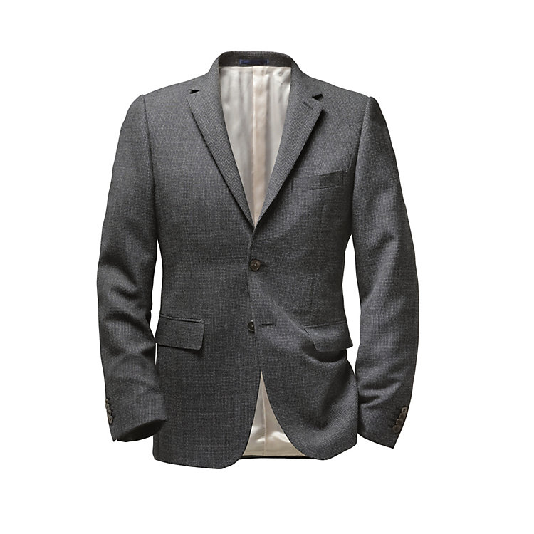 Scabal Virgin Wool Men's Jacket Dark blue-white