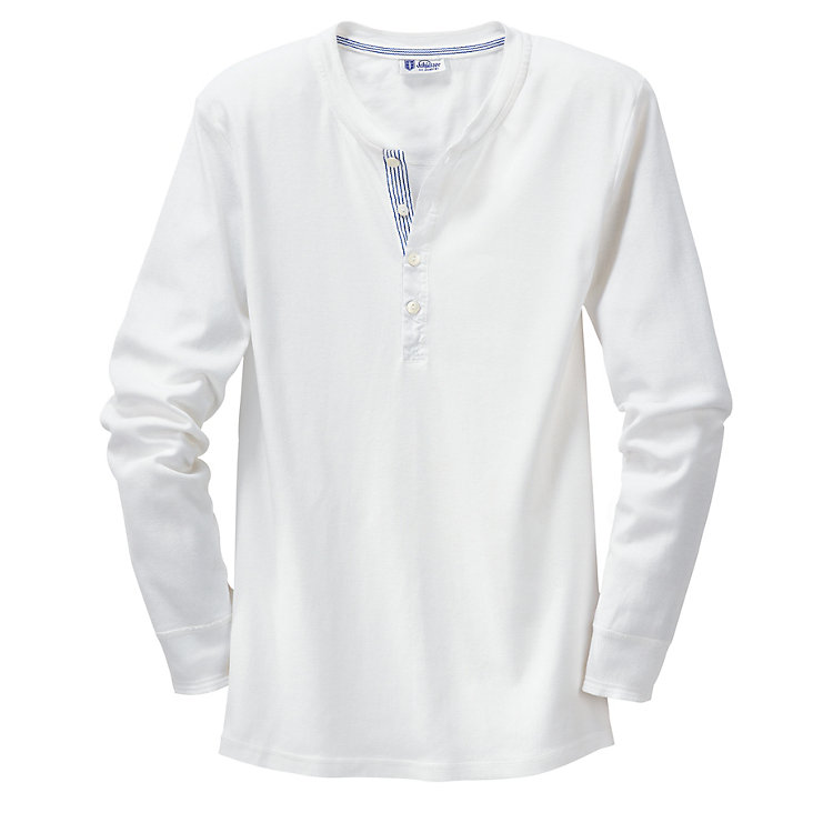 Schiesser Men's Fine Rib Long-Sleeved Undershirt, White