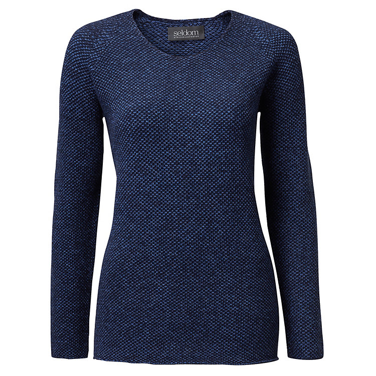 Seldom Ladies' Jumper with Rice Grain Pattern blue