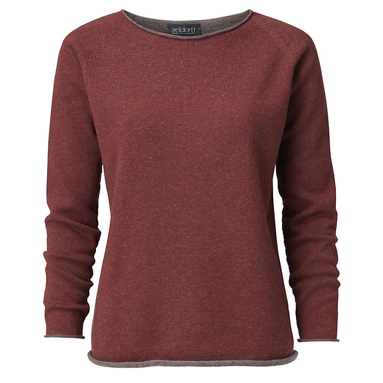 Seldom Ladies' Sweater Merino Wool, Red-Grey