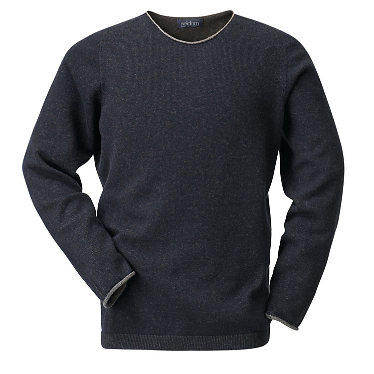 Seldom Men's Merino Wool Jumper Blue-Brown