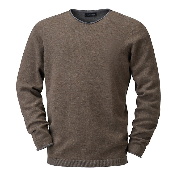 Seldom Men's Merino Wool Jumper Brown-Grey