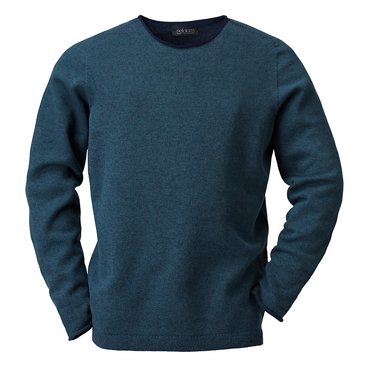 Seldom Men's Merino Wool Jumper Green-Blue