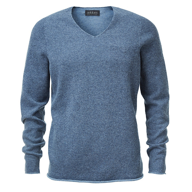 Seldom Men's Sweater with breast pocket Blue