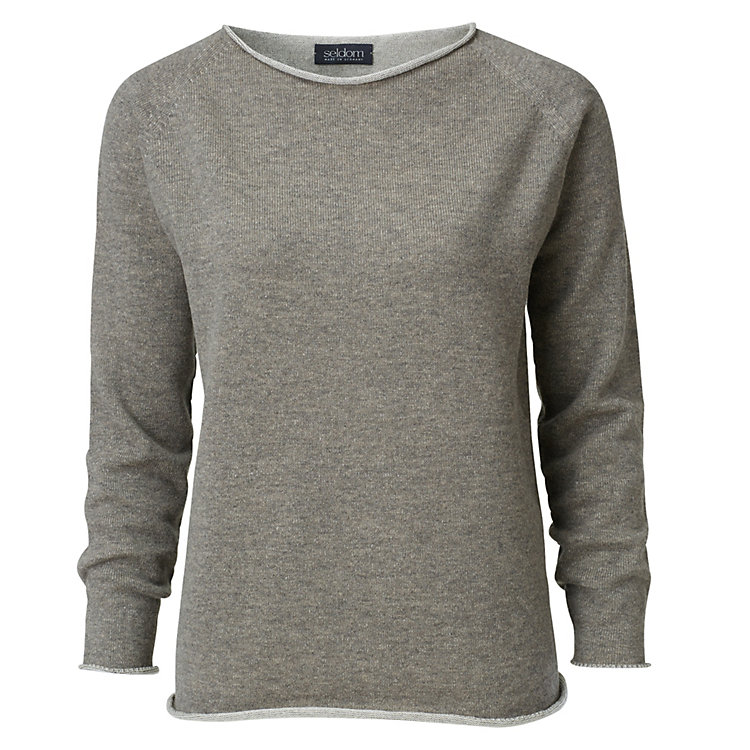 Seldom Women's Sweater Merino Wool, Beige-Brown