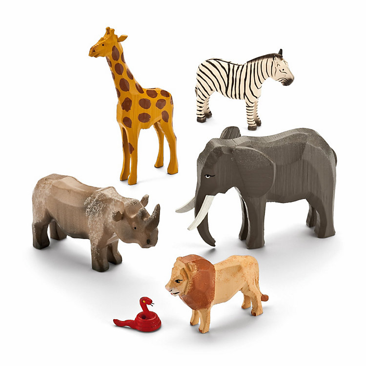 Set of African Ring-Turned Animals
