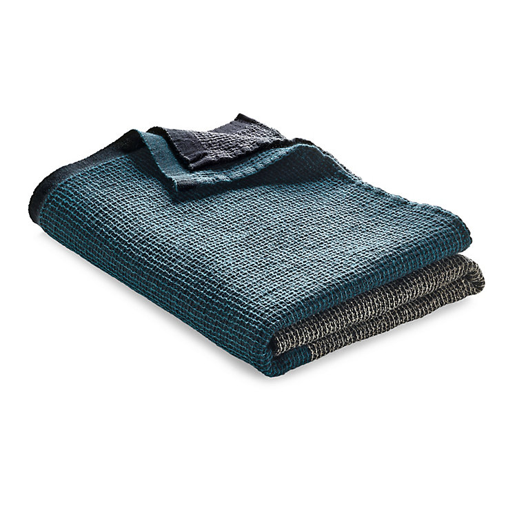 Shower Towel with Block Stripes Anthracite-Teal