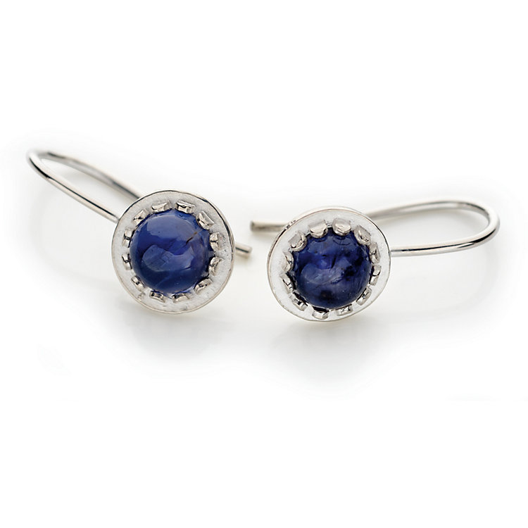 Silver Earrings with Iolite