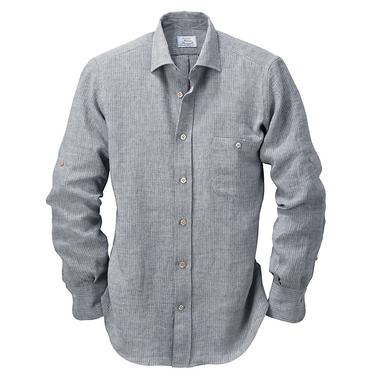 Striped Irish Linen Shirt Blue-Natural