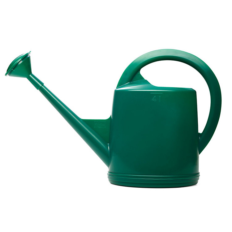 Swiss Plastic Watering Can with Rose Volume 4 l Green