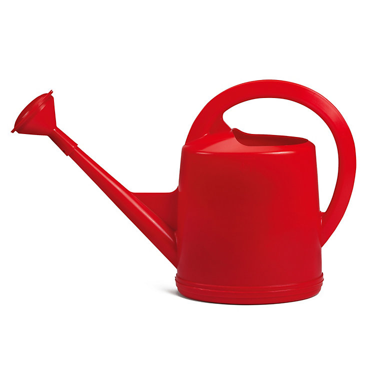 Swiss Plastic Watering Can with Rose Volume 4 l Red