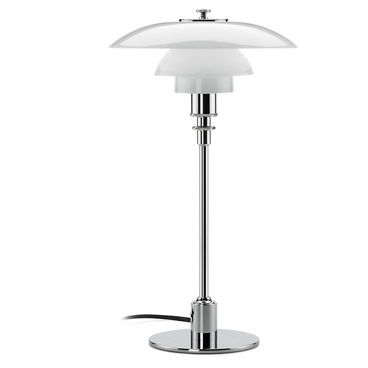 Table Lamp Opaline Glass PH 2/1 by Louis Poulsen Chrom-Plated