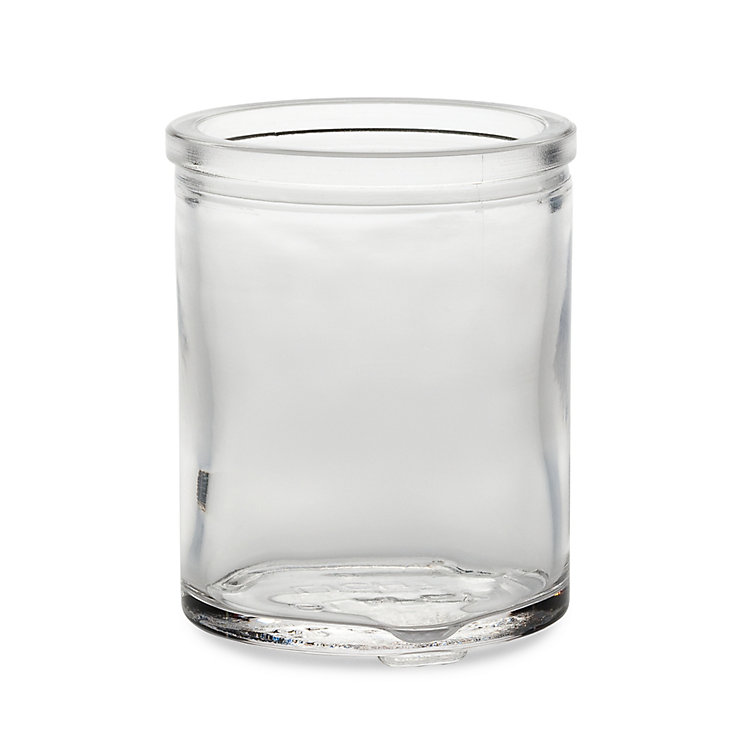 Tall glass tea light holder, Clear glass