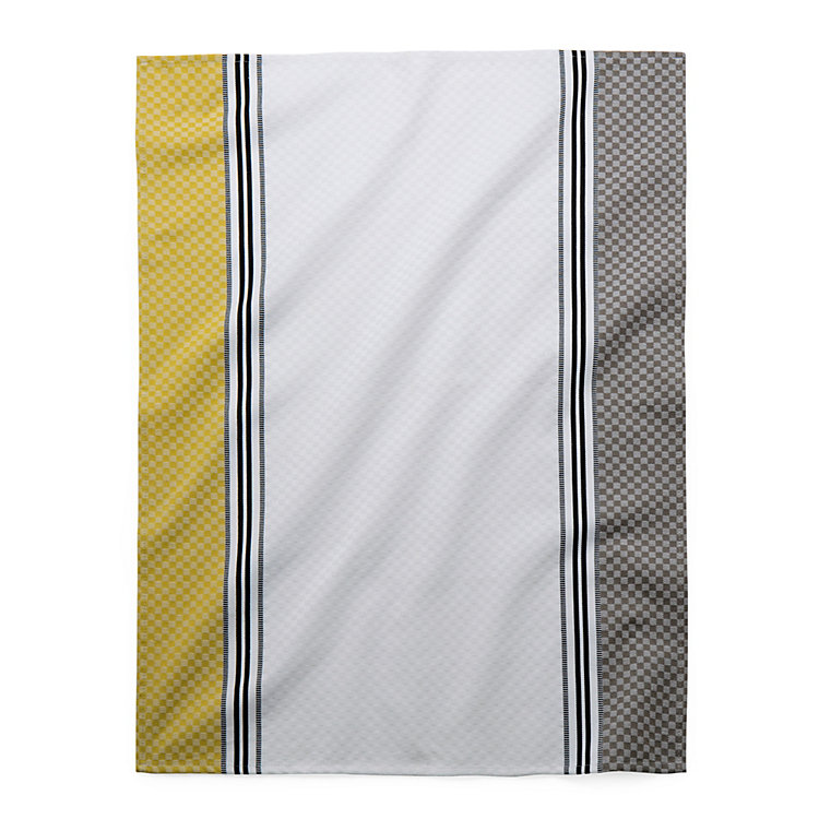 Tea Towel Chequers White and Yellow