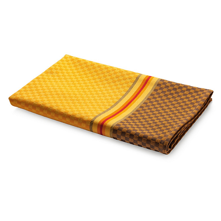 Tea Towel Chequers Yellow and Brown