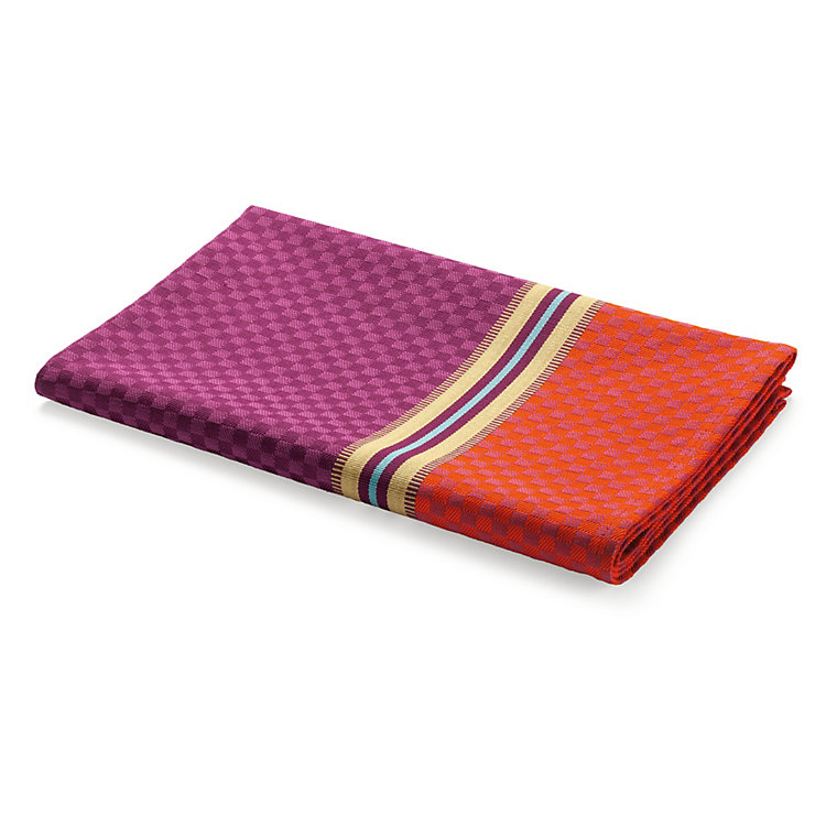 Tea Towel Chequers Orange and Plum