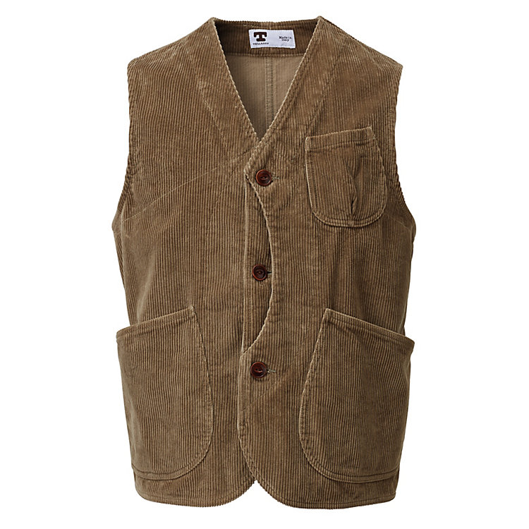Tellason Men's Corduroy Vest Light brown