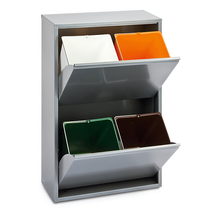 Tilt-Out Cabinet Made of Steel 4 Bin