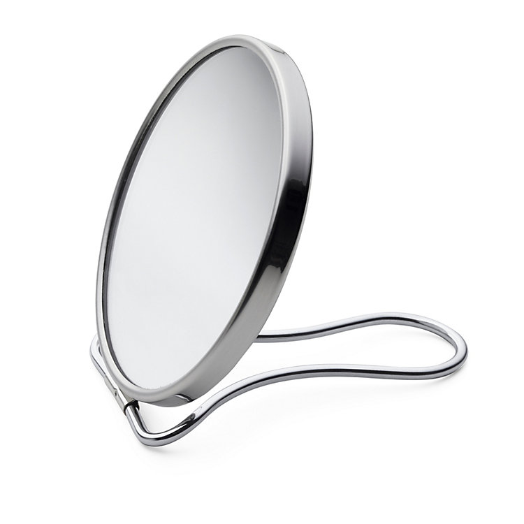Travel Mirror Glass and Chrome-Plated Brass