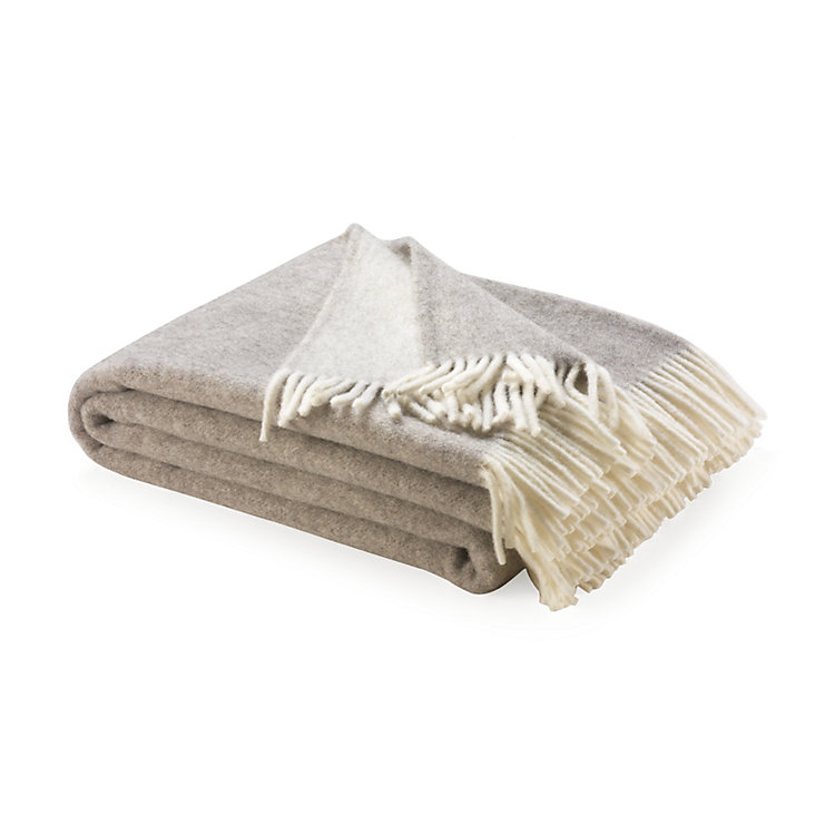 Virgin Merino Wool Blanket, White/Gray