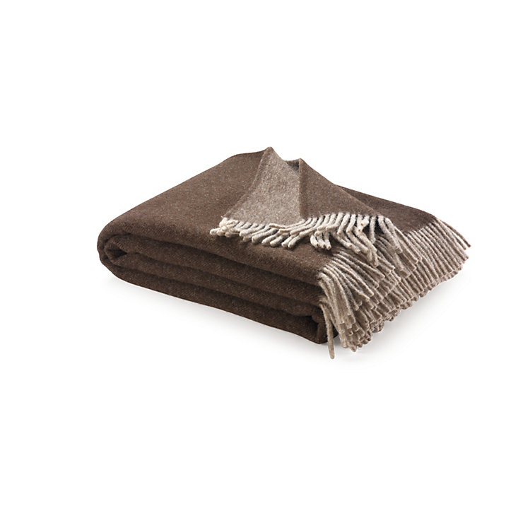 Virgin Merino Wool Blanket Beige/Brown