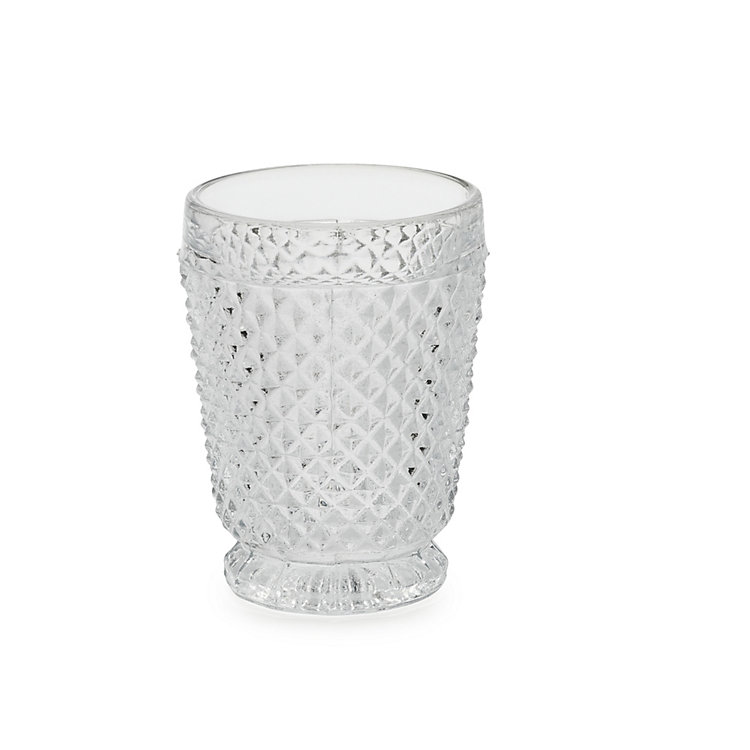 Waffle Pattern Pressed Glass Cup Clear