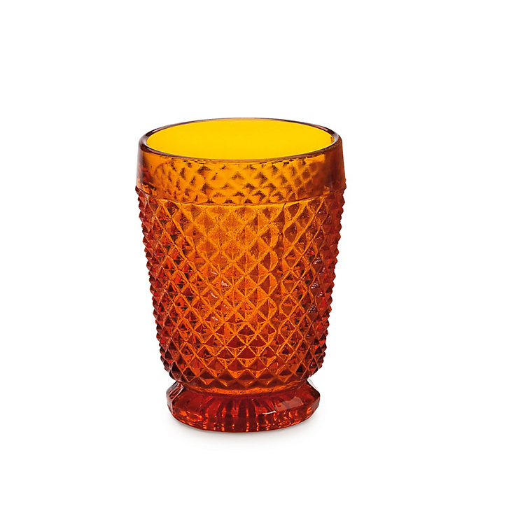 Waffle Pattern Pressed Glass Cup