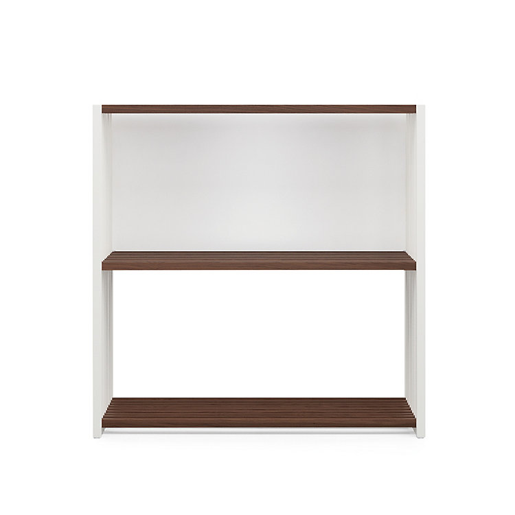 Walnut and Beechwood Folding Shelving 2 shelves White