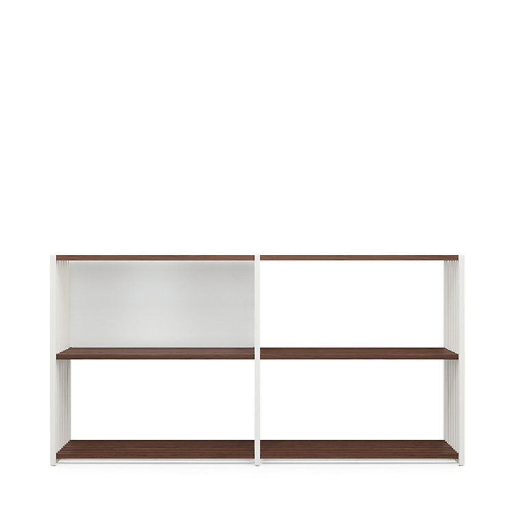 Walnut and Beechwood Folding Shelving 2 × 2 Compartments White