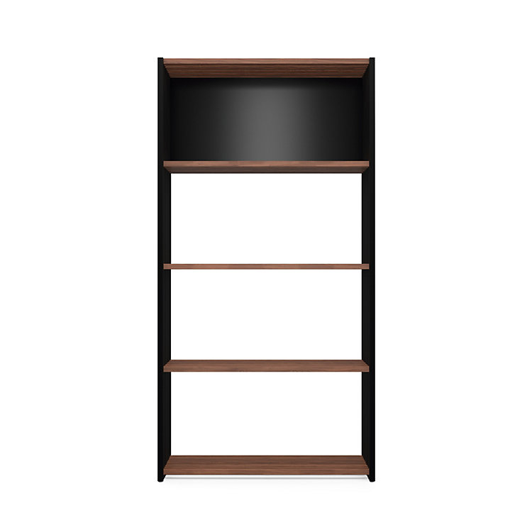 Walnut and Beechwood Folding Shelving 4 Compartments Black